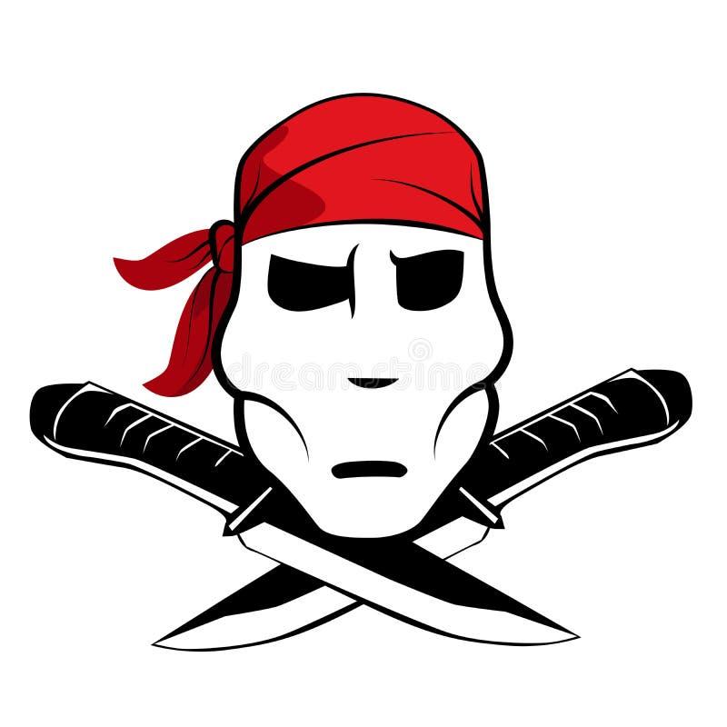 Pirate symbol with bandana vector illustration