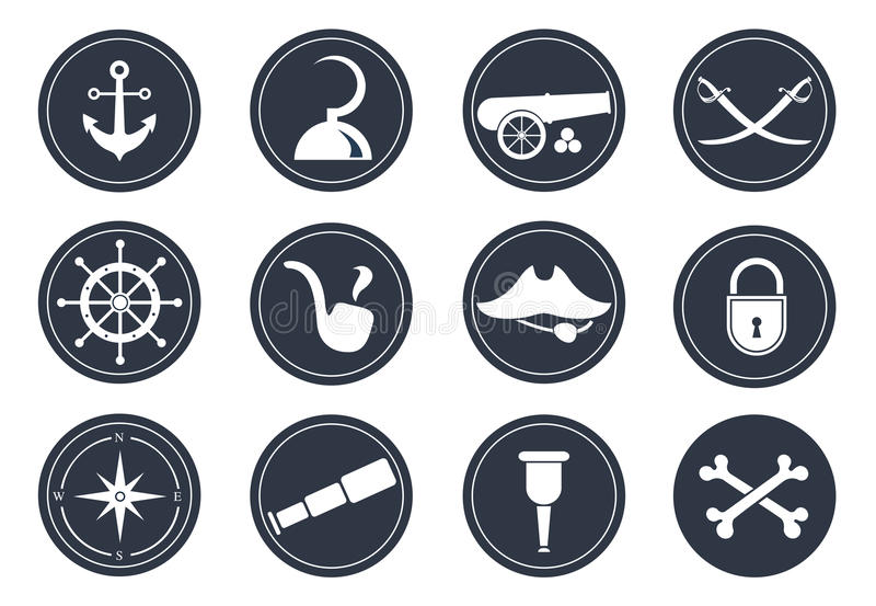 Pirate symbols. Set of vector elements on the pirate theme