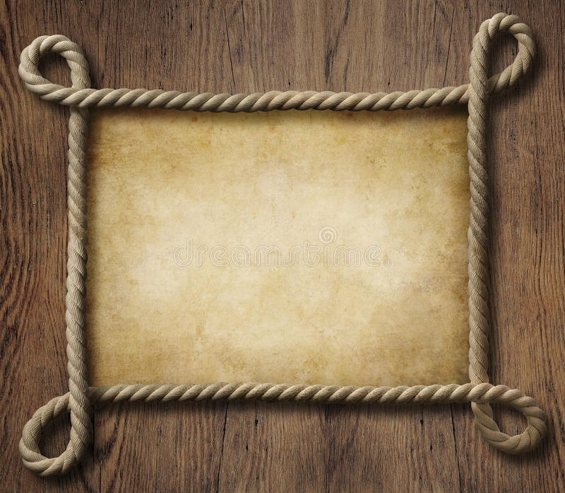 Pirate theme nautical rope frame with old paper royalty free illustration