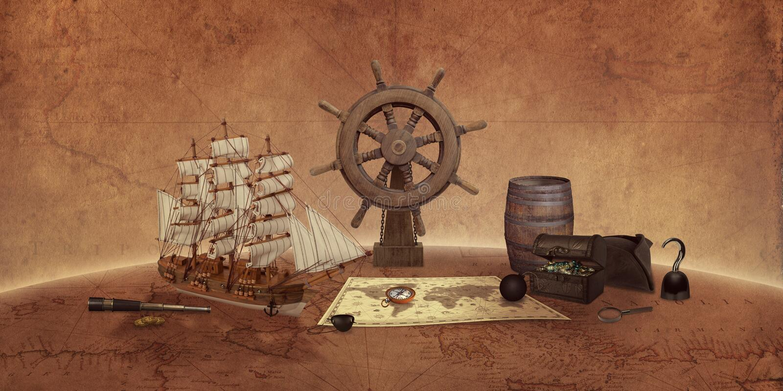 Pirate things concept on an old world map. Ship, map, compass, treasure chest, rudder, telescope royalty free stock photography