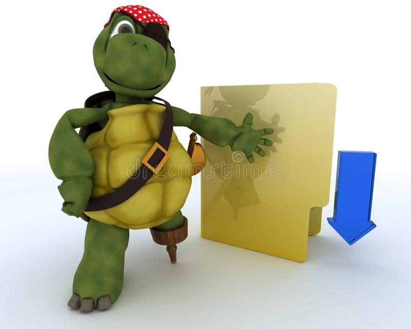 Download Pirate Tortoise Depicting Illegal Downloads Stock Illustration - Image: 24425978