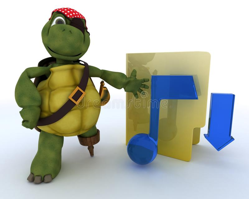 Download Pirate Tortoise Depicting Illegal Music Downloads Stock Illustration - Image: 24425962
