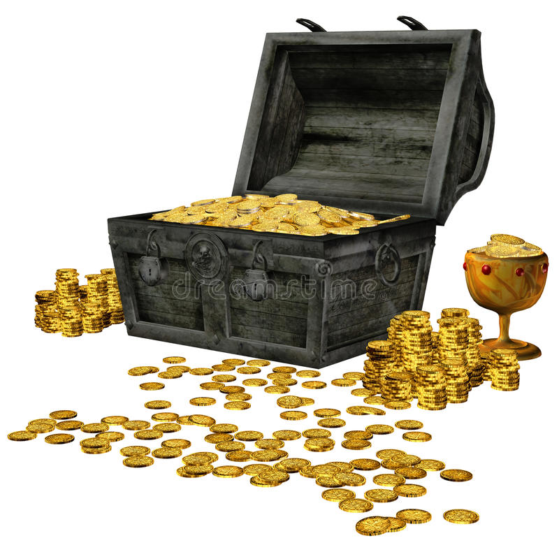 Pirate treasure. 3D render of a chest with pirate treasure