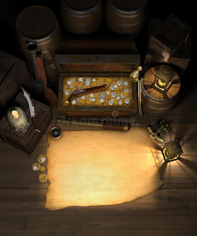Free Pirate Treasure And Map Royalty Free Stock Images - 15246999