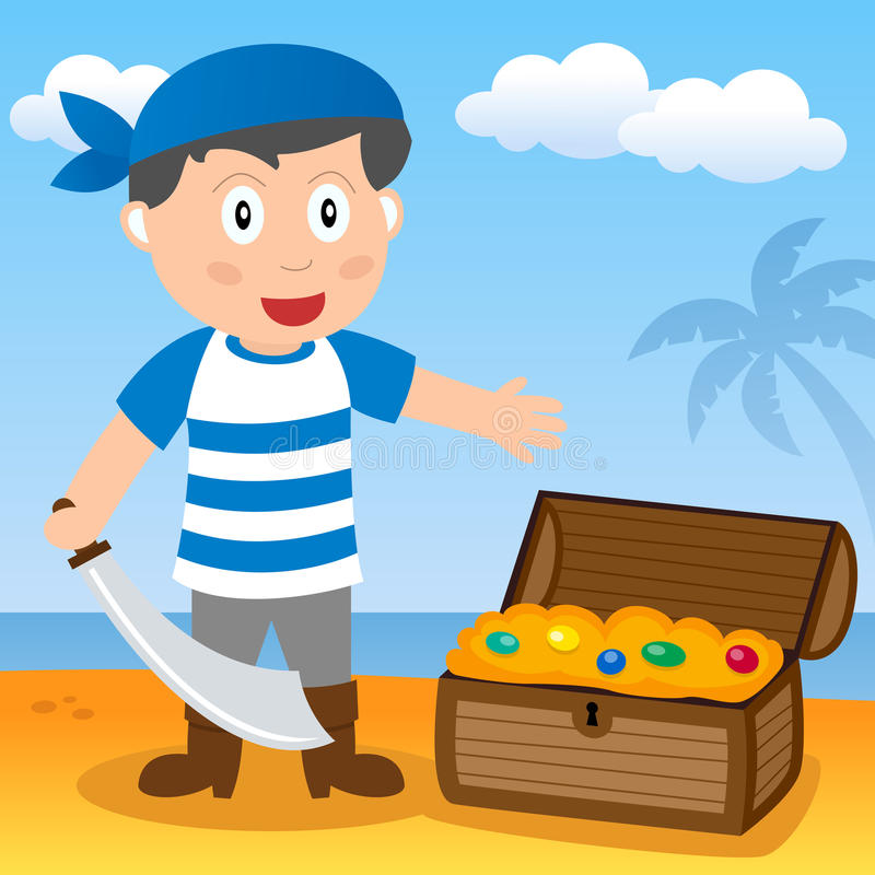 Pirate With Treasure On A Beach Royalty Free Stock Image