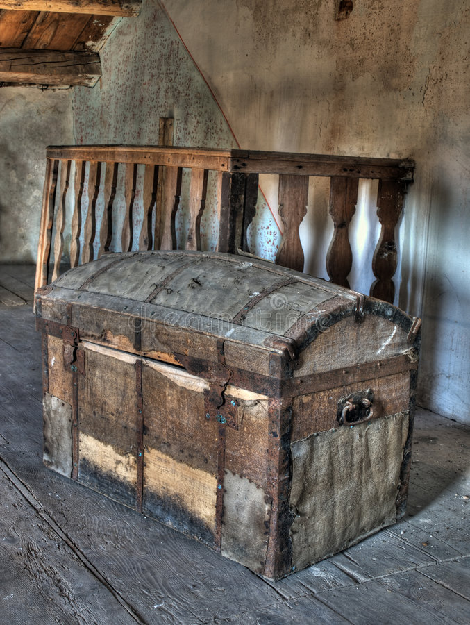 Pirate treasure chest. Very old box on the attic like pirate treasure chest. HDR image royalty free stock photography