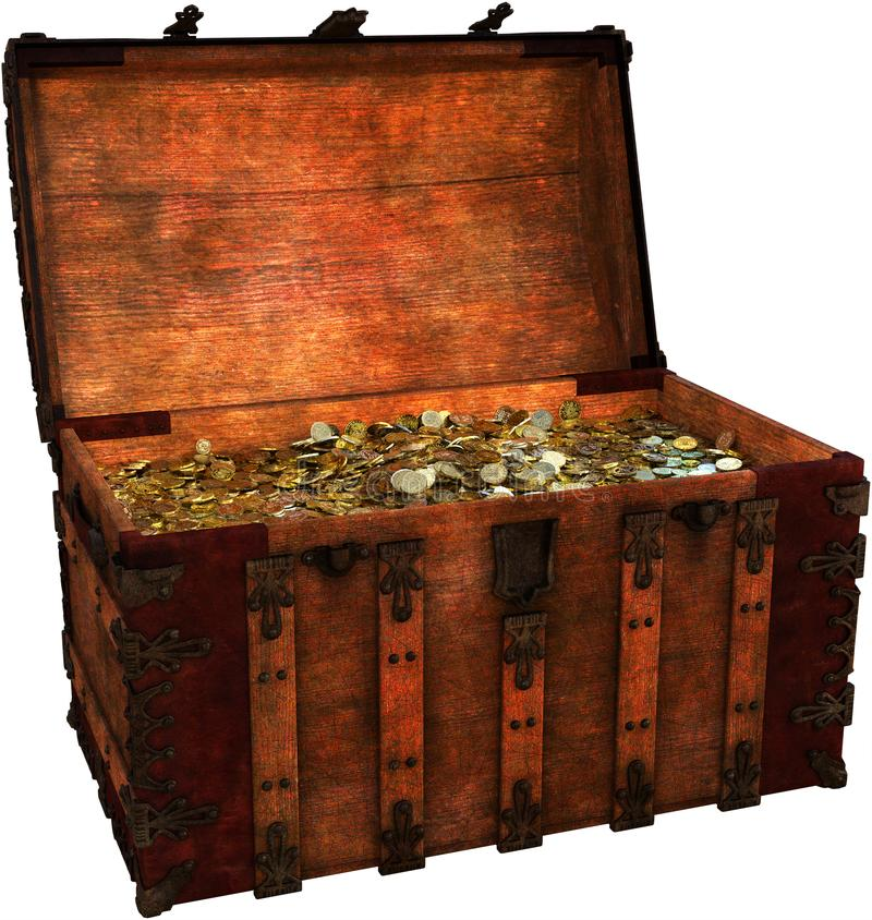 Pirate Treasure Chest, Coins, Isolated. Illustration of a pirate treasure chest filled with gold and silver coins and booty. The wooden trunk is loaded with royalty free stock image