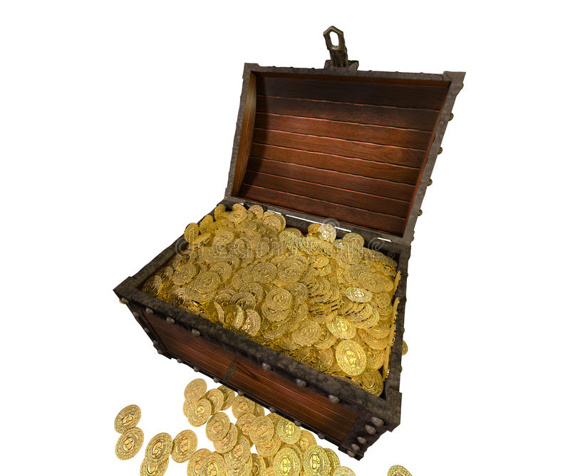 Pirate treasure chest. 3D render. royalty free illustration