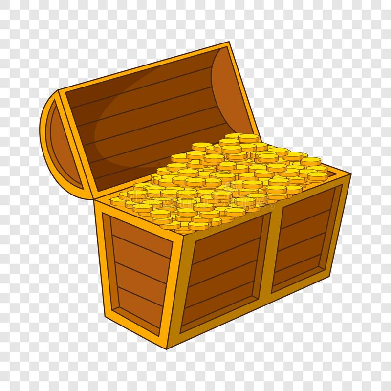 Pirate treasure chest with golden coins icon. Cartoon illustration of pirate treasure chest with golden coins vector icon for web stock illustration