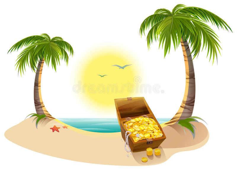 Pirate Treasure Chest On Tropical Island Stock Vector ...