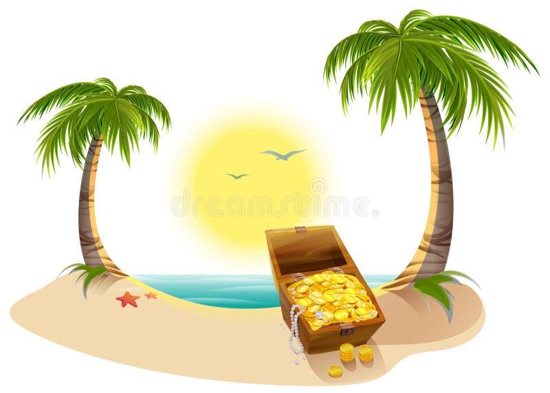 Tropical Island Cartoon: Pirate Treasure Chest On Tropical Island Stock Vector