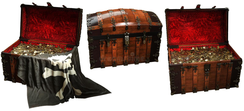 Pirate treasure chests 3D illustration vector illustration
