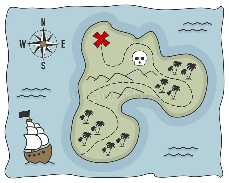 Pirate Treasure Island Map. Old pirate treasure island map, isolated on white background. Eps file available royalty free illustration