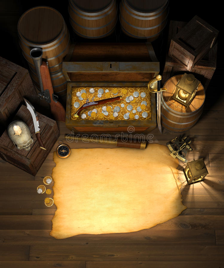 Free Pirate Treasure & Map Royalty Free Stock Images - 15659759