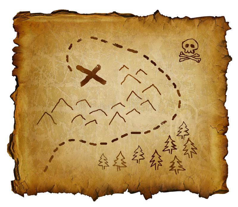 Pirate Treasure Map. Parchment with treasure map and skull and crossbones. X marks the spot