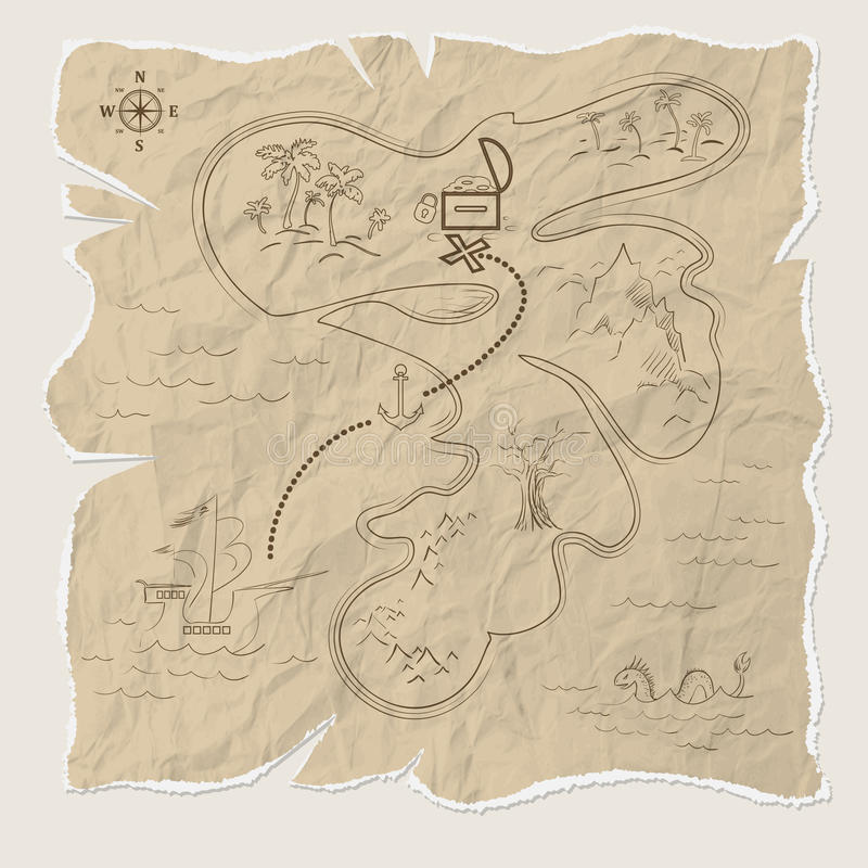 Pirate treasure map of the island on old paper. Vector. Illustration vector illustration