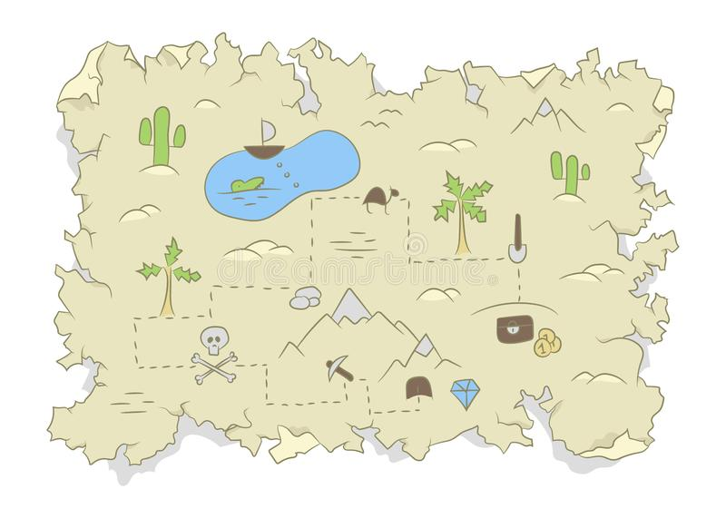 Pirate treasure map on a tattered old paper flat color design royalty free illustration