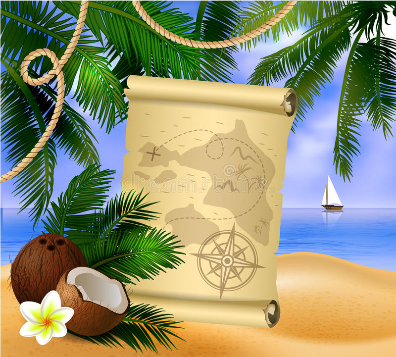 Pirate treasure map on tropical background stock illustration