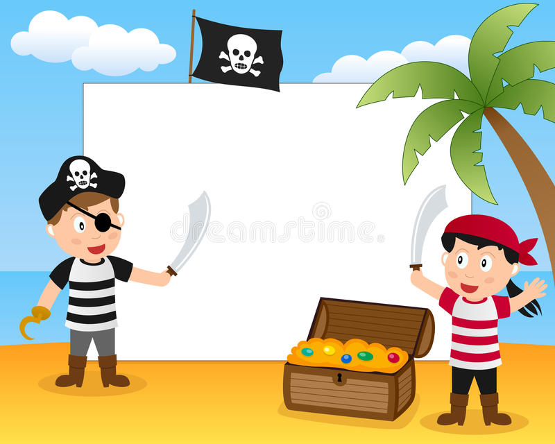 Pirates & Treasure Photo Frame. Photo frame, post card or page for your scrapbook. Subject: two cartoon pirate kids with a treasure box. Eps file available stock illustration