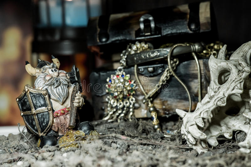 Pirate and treasure and Viking stock photography