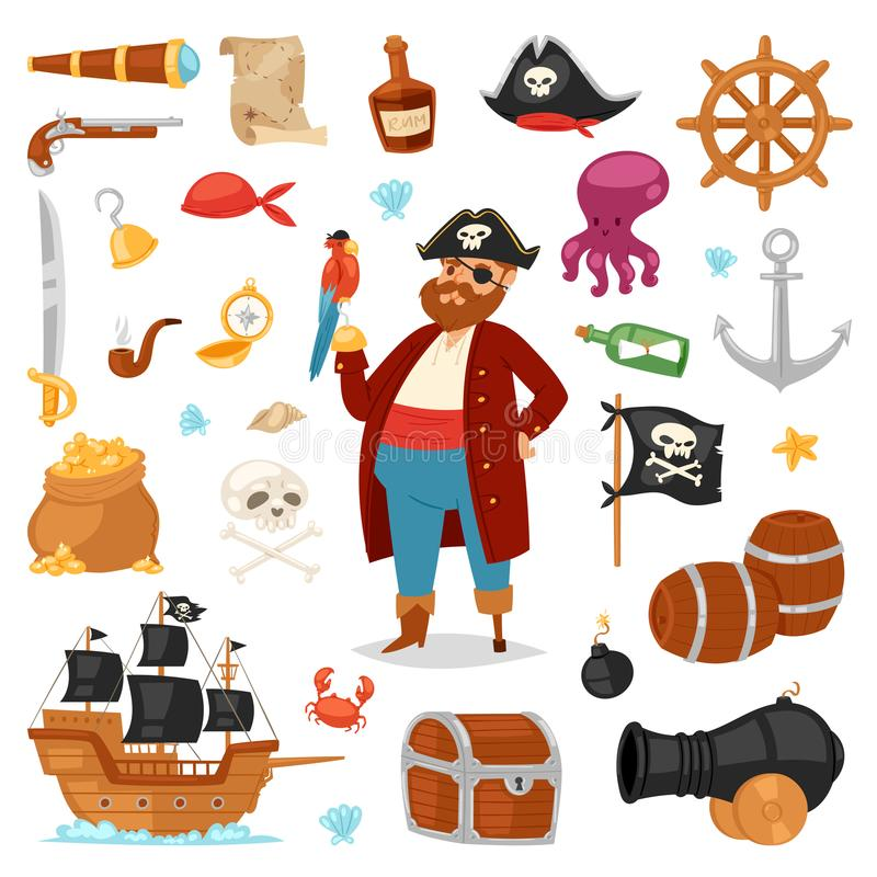 Pirate vector piratic character buccaneer man in pirating costume in hat with sword illustration set of piracy signs and vector illustration