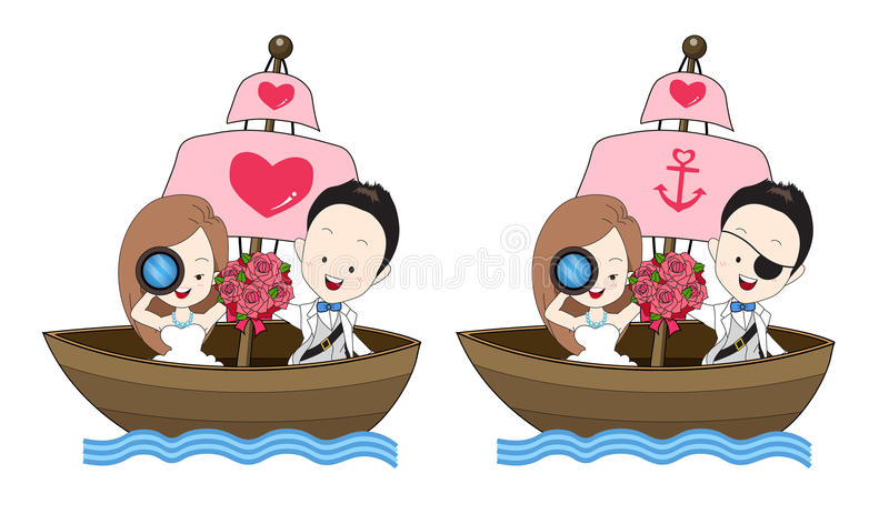 Pirate wedding vector cartoon, bride and groom hold a flower bouquet and standing on a boat. With sea theme on white background stock illustration