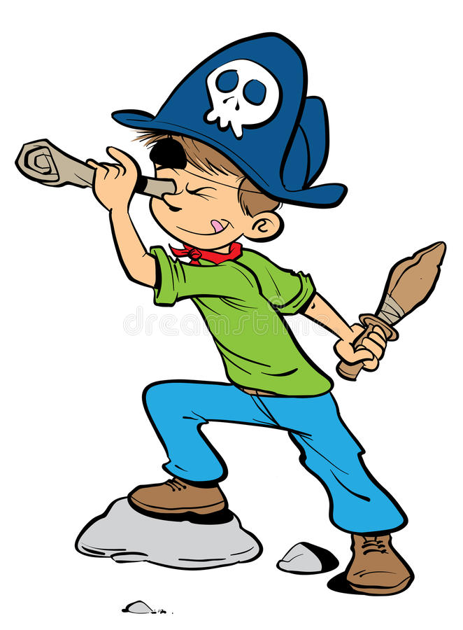 Pirate young boy. Cartoon illustration of a boy dressed as a pirate with an eye patch wearing a pirate hat and holding a wooden sword