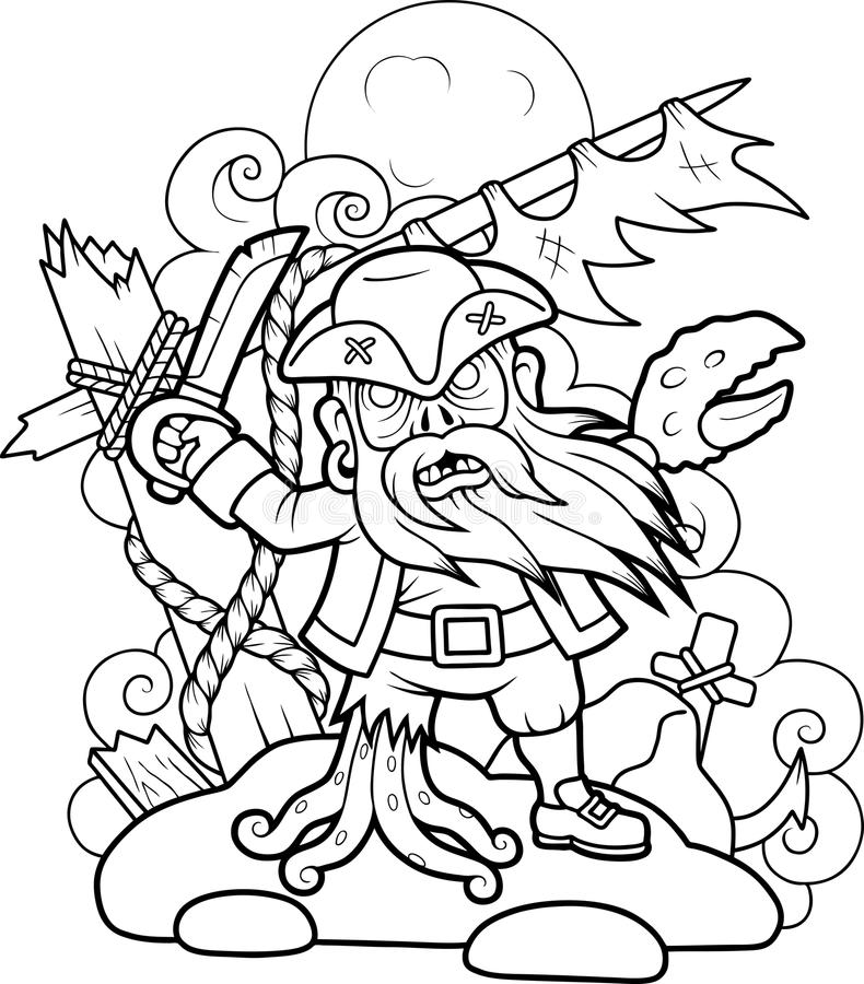 Pirate zombies with a sword in his hand stock illustration