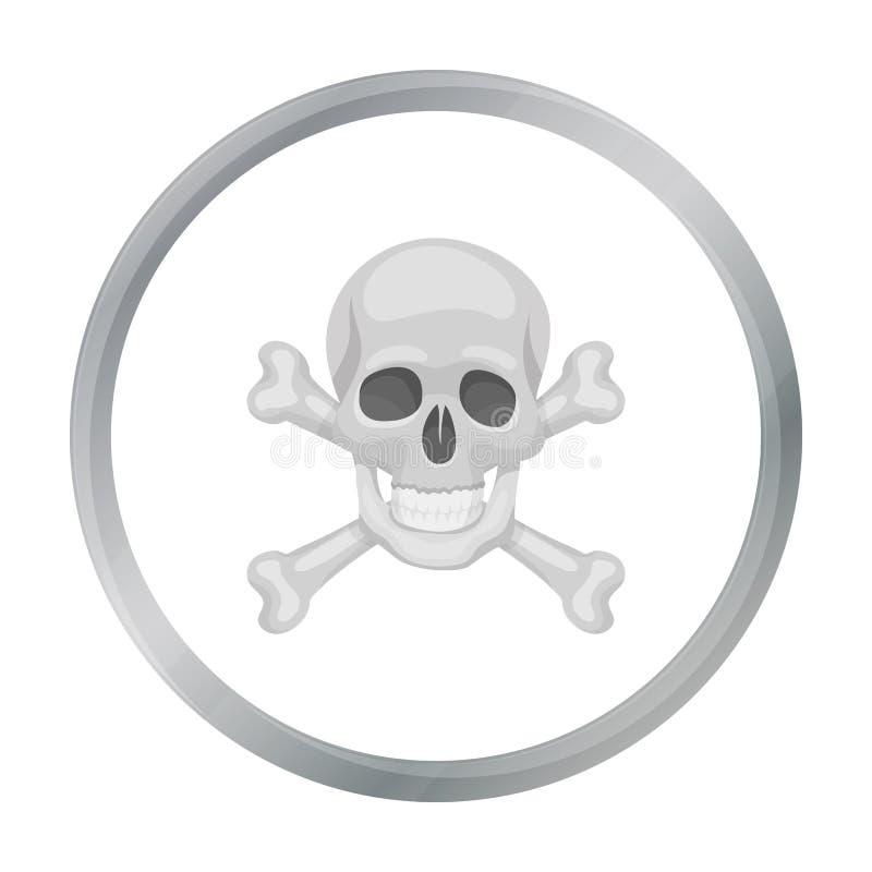 Piratee el cráneo y el icono de la bandera pirata en estilo de la historieta aislados en el fondo blanco stock de ilustración