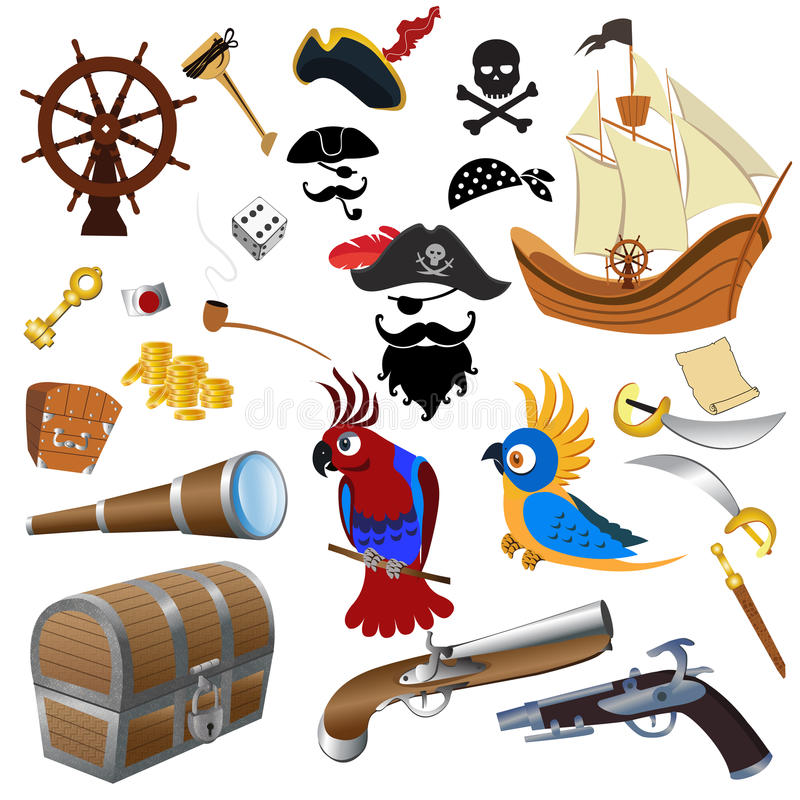 Piratee el ejemplo determinado detallado los iconos del vector en un fondo blanco stock de ilustración