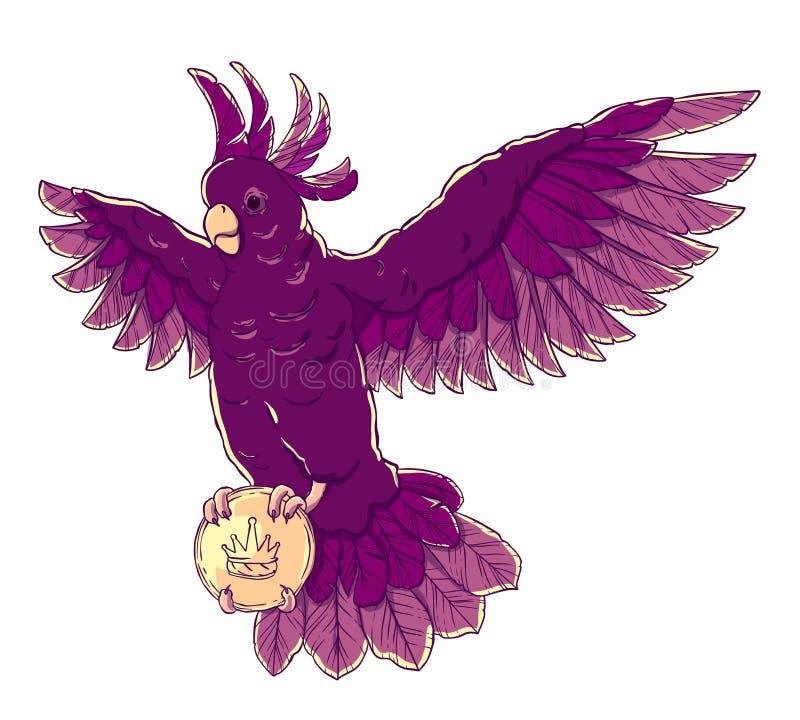 Piratee el loro en vuelo con las alas extendidas, remiendo del ojo y una tarjeta o una letra en sus patas stock de ilustración