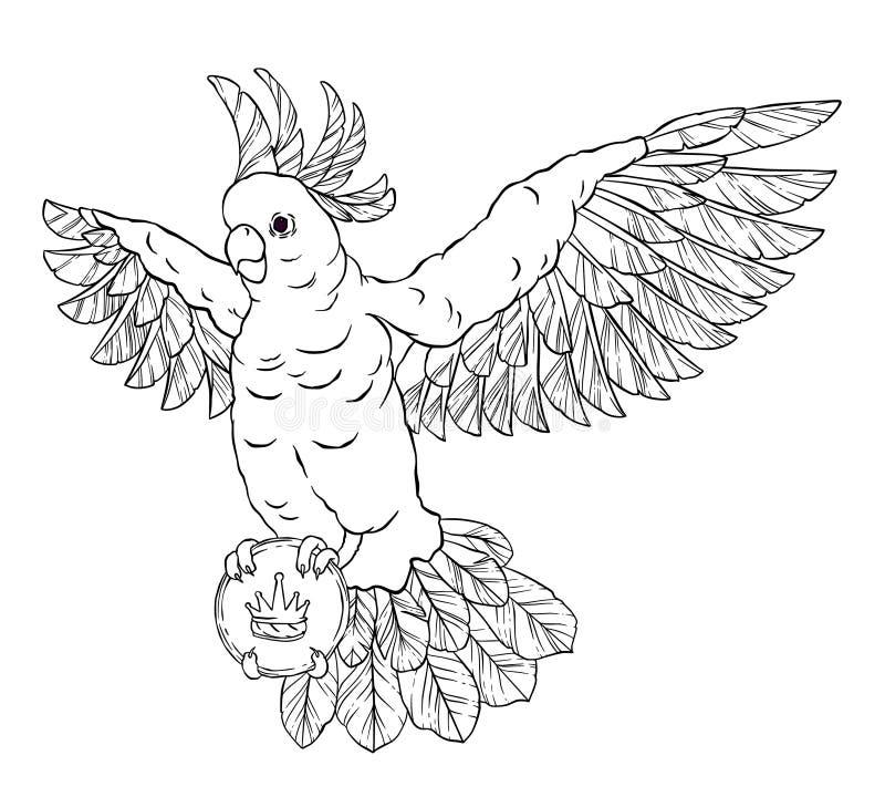 Piratee el loro en vuelo con las alas extendidas, remiendo del ojo y una tarjeta o una letra en sus patas libre illustration