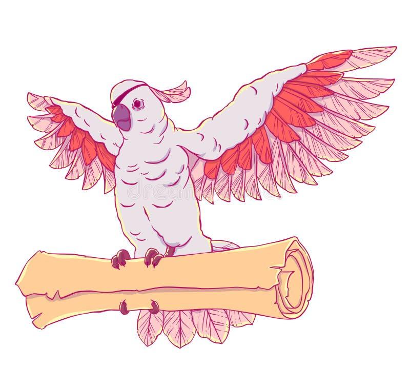 Piratee el loro en vuelo con las alas extendidas y la moneda en sus patas ilustración del vector