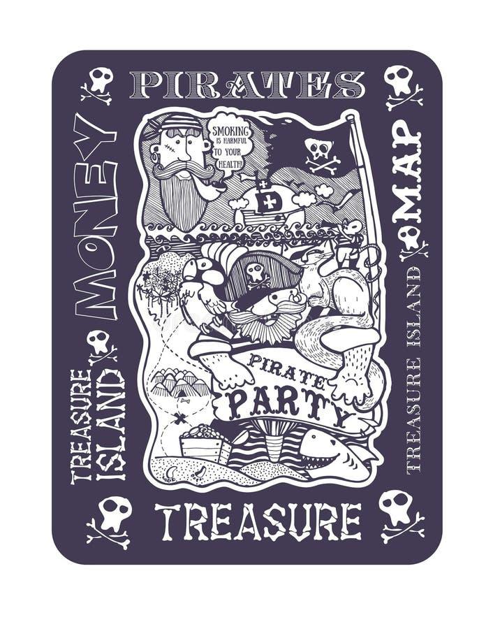 Piratee el partido, la imagen del mapa de la isla del tesoro stock de ilustración