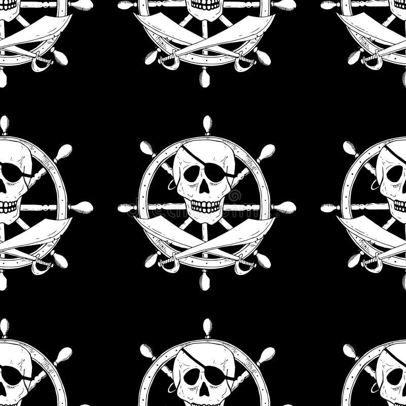 Piratee la muestra con el cráneo y los sables con un timón en fondo Mar ilustración del vector