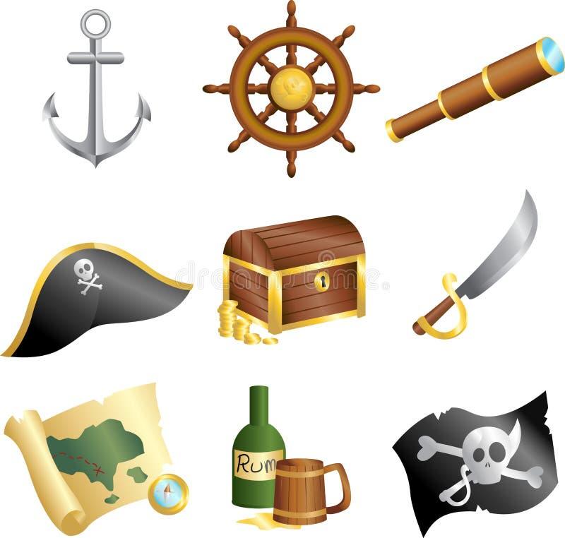 Pirateia ícones ilustração royalty free
