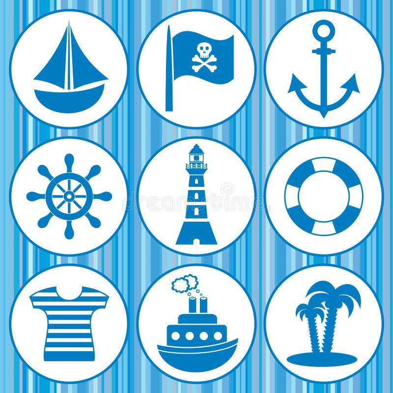 Pirateia ícones ilustração do vetor