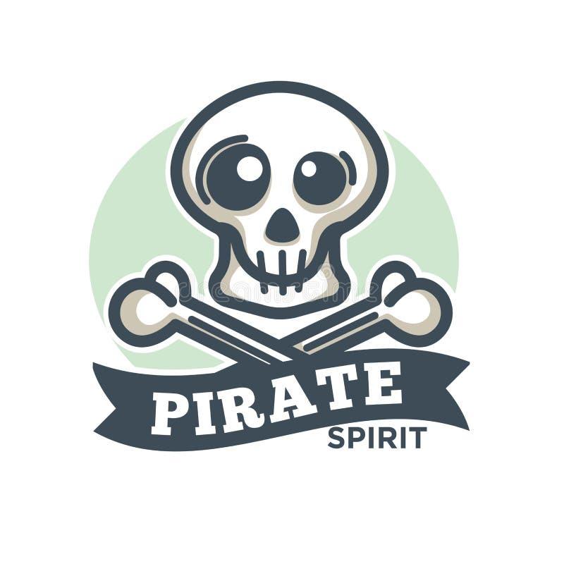Pirateie o ícone do vetor do crânio e dos ossos cruzados ilustração stock