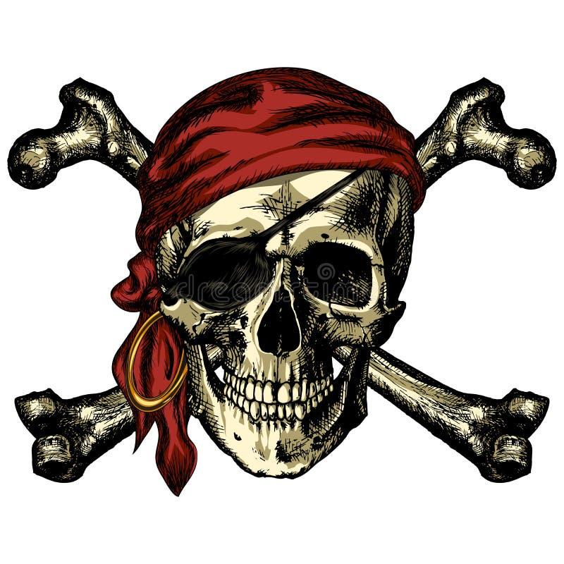 Pirateie o bandana do crânio e dos ossos cruzados e um brinco ilustração stock