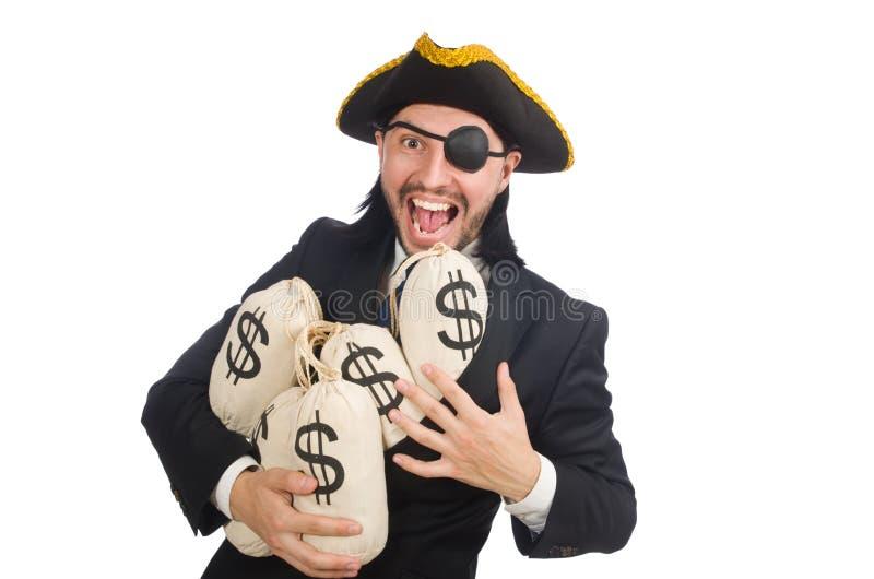 Pirateie o homem de negócios que mantém sacos do dinheiro isolados no branco fotografia de stock