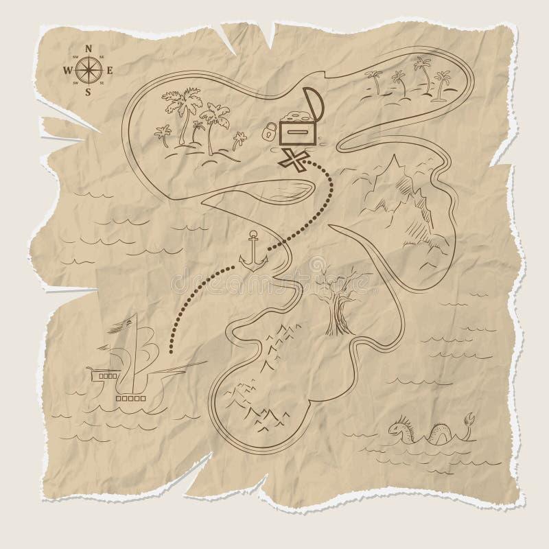 Pirateie o mapa do tesouro da ilha no papel velho Vetor ilustração do vetor