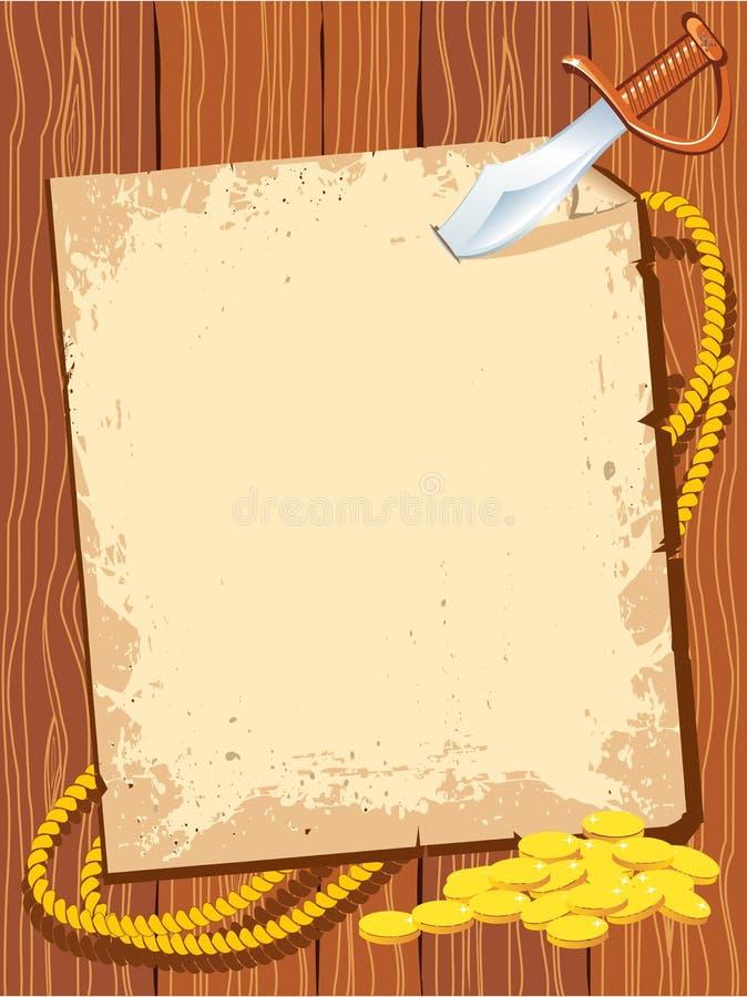 Pirateie o papel de fundo com dinheiro da faca e do ouro ilustração stock