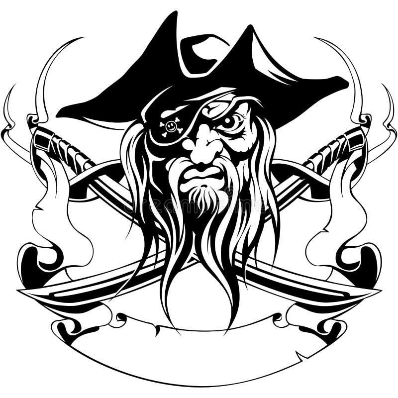 Pirateie o preto alegre do símbolo da fita das espadas de Roger do chapéu ilustração royalty free