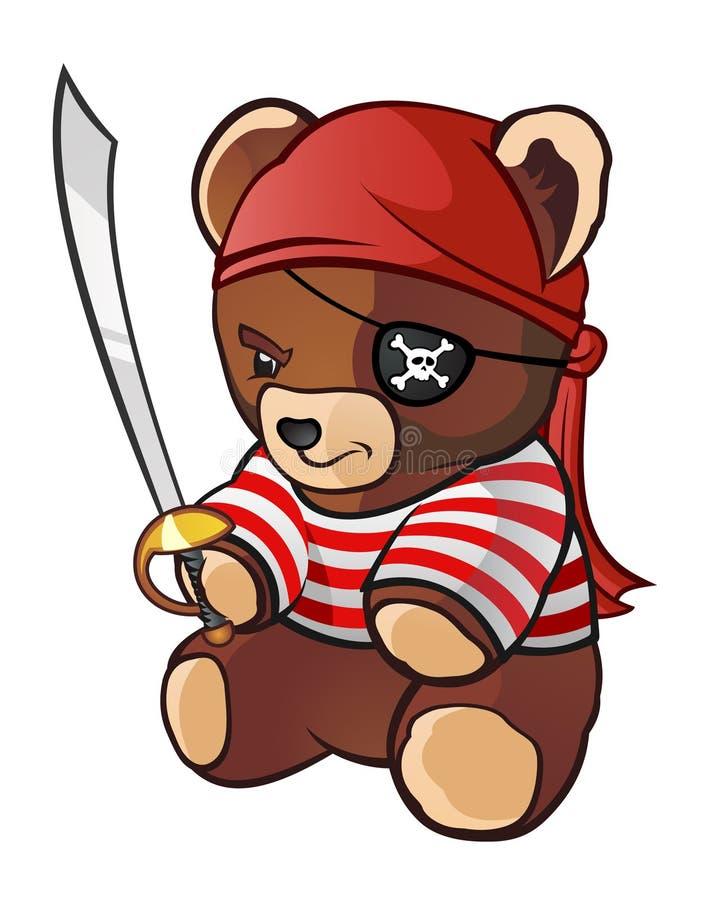 Pirateie o urso da peluche ilustração royalty free