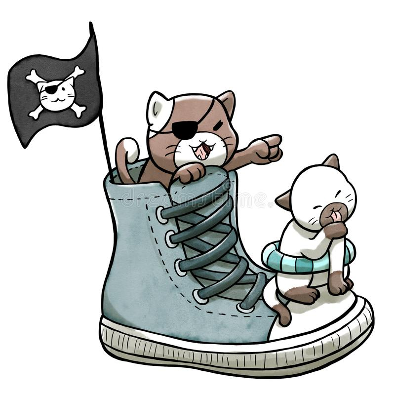 Pirateie os gatos que navegam nas sapatas isoladas no fundo branco ilustração stock