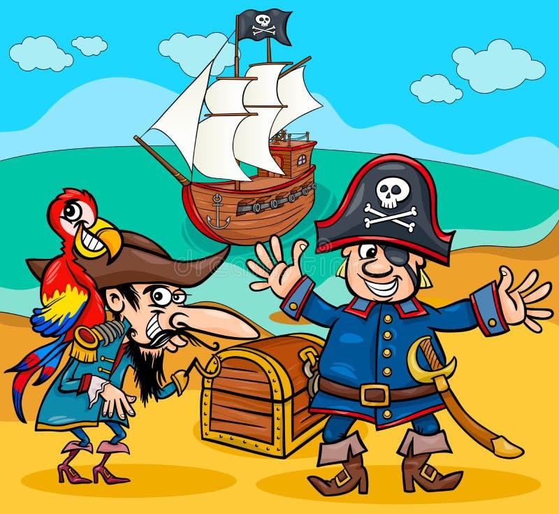 Piraten auf Schatzinselkarikatur vektor abbildung