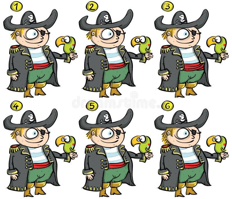 Piraten gelijke-op Visueel Spel vector illustratie