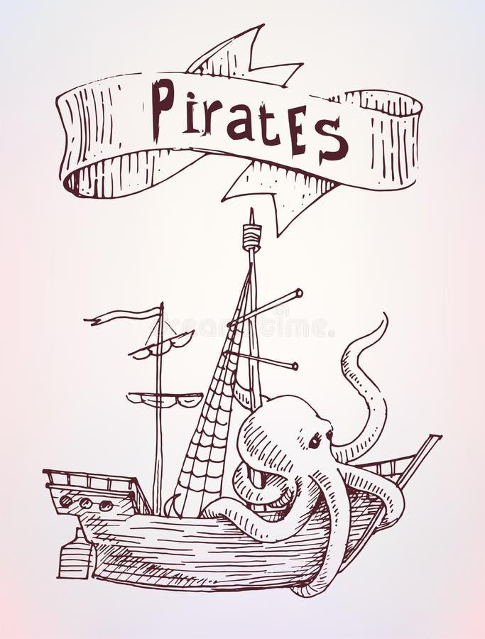 Piraten getrokken schip met teken, overzeese reclame royalty-vrije illustratie