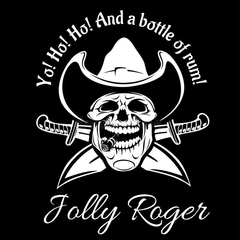 Piraten-Jolly Roger-Symbol Vector Plakat des Schädels mit Piratenaugenklappe, gekreuzte Knochen und Klingen oder Säbel Schwarze F vektor abbildung