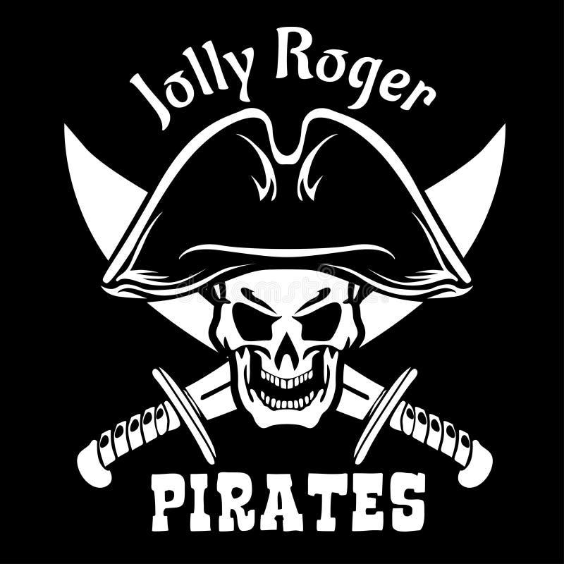 Piraten-Jolly Roger-Symbol Vector Plakat des Schädels mit Piratenaugenklappe, gekreuzte Knochen und Klingen oder Säbel Schwarze F lizenzfreie abbildung